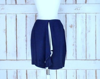 Vintage Ann Taylor dark blue/white/ivory short ruffle silk pencil skirt/knee length silk skirt/8