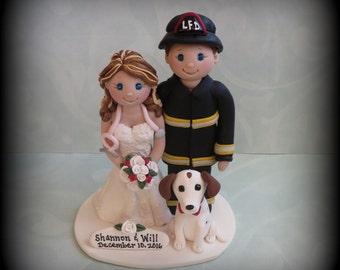 Wedding Cake Topper, Custom Cake Topper, Firefighter, Nurse, Bride and Fireman, One Pet, Polymer Clay, Personalized, Wedding Keepsake