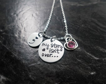 Semicolon Jewelry / Charm Necklace / Semicolon Necklace / Suicide Awareness / Personalized Necklace / My Story isn't over yet / Hand Stamped