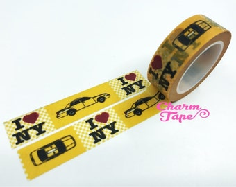 Yellow I love NY Washi tape - 15 mm Wide - 10 meters  WT779