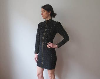 Vintage '80s/'90s Gold Studded, Zip Front, Backless Lycra Cache Dress, Small