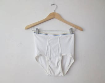 Vintage '70s NOS 3 Pairs, JCPenney Blue/Gold Stripe Fortel & Combed Cotton Men's Briefs / Tighty Whities, 32, Never Worn!