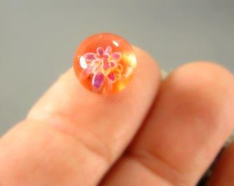 Plumeria Tangerine Mini Cabochon - 10mm - Jewelry Making Supply