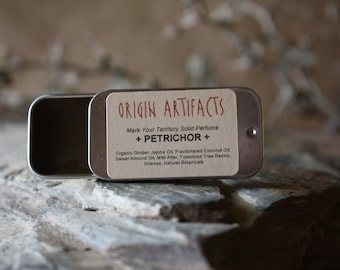 PETRICHOR Solid Perfume / Ancient Earth / Intoxicating Spiral / Wine-like Black Berries + Aromatic + Desert Air + Roots 'n Minerals / .25 oz