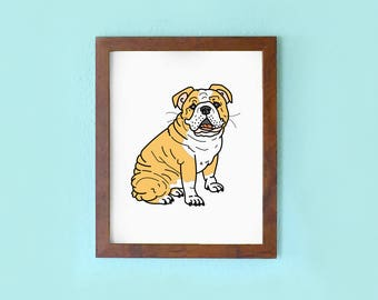 Bulldog: Puppy Friend - 8 x 10 Art Print