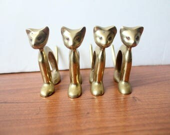 Vintage Brass Cat Napkin Rings Set of 4