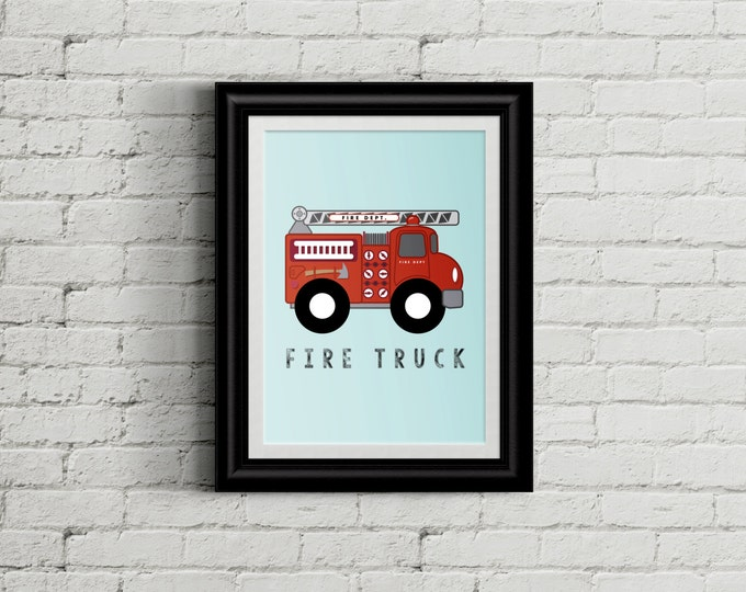 Fire Truck Wall Art For Kid's Bedroom- Fire Rescue Boys Room Decor - Fire Engine Room Decor - Firefighter Nursery Decor