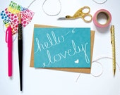 SALE Hello Lovely Notecard. Teal Notecard. Cute Teal Greeting Card. Hand Lettered Note Card.