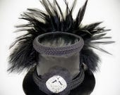 Black Mini Top Hat, Steampunk Hat, Punk Hat, Festival Hat, Wedding Fascinator, Festival Hat, Burning Man Hat, Steampunk Wedding, Gothic Hat