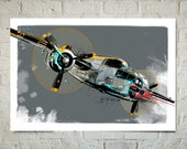 Airplane, Decor, Art Print from my original illustration of a B-25 Mitchell, WWII, Vintage Military fighter plane, Multiple sizes available.