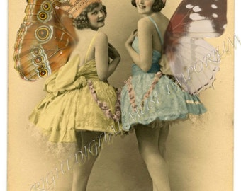 Butterfly Fairy Women  Instant Download Vintage Photograph