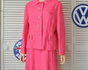 Womens Vintage 60s A Line Dress with Matching Jacket & Belt/Neiman Marcus/Hot Pink Slubbed Linen Large-extra large/Costume Plus Size