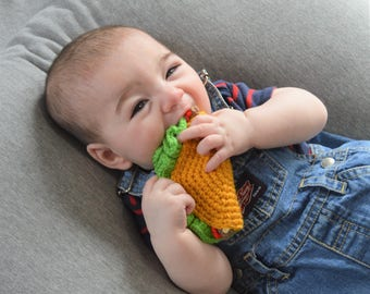 Taco Baby Rattle, Baby Food Toy, Baby Teething Toy, Baby Shower Gift, Rattle Teether Toy, Mexican Food, Unique Baby Gift, Cinco de Mayo Toy