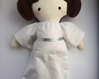 Princess Leia - Handmade Doll - Cloth Doll - Geek Doll - Star Wars Doll - Pop Culture Doll - Fangirl