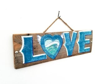 Blue Love Sign Handmade on Reclaimed Wood Rustic Wedding Love Sign Beach Wedding Country Wedding Anniversary Vintage Bridal Shower Mangoseed