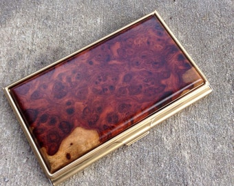 AMBOYNA Burl Wood Business Card Case, ID Holder, Christmas gift for him, Men's Gift, graduation gift, Gift for Dad, card wallet