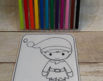 Elf Reusable Coloring Page, Felt Coloring Page, Vinyl Coloring Pages, Children's Coloring Pages, Birthday Gift, Holiday Gift