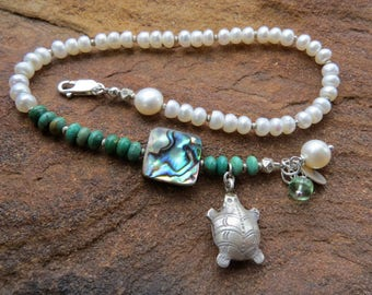 summer outdoors pearl anklet. FAT TURTLE. beach anklet. turquoise anklet. Paua shell anklet. one of a kind tropical anklet. vacation jewelry