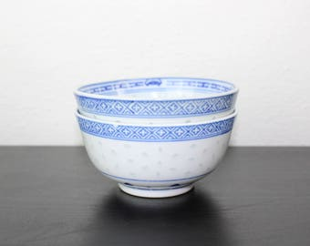 Vintage Set of Two Small Blue and White Rice Grain Pattern Porcelain Bowls, Small Bowls Serving Dishes, Toppings, Sauces, Soy Sauce 260009