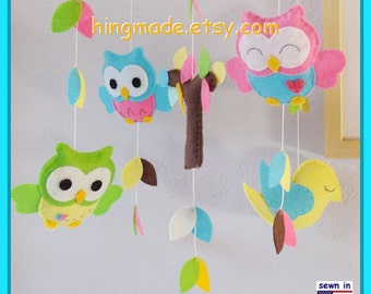 Baby Crib Mobile,Felt Mobile,Owl Mobile,Bright Nursery Decor, Aqua and Pink Owls Bird in tree top,CustomMobile