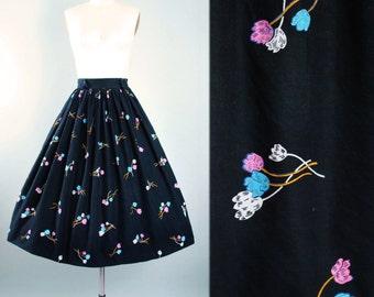 "Vintage 50s Skirt / 1950s Black Cotton Pastel Aqua BLUE PINK  Floral Tulip Rose Print Full Swing Skirt Garden Party High Waist 24"" 25"" XS"
