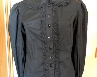 Gothic Black Shirt, Steampunk, Gothic Lolita, Victorian Mourning Blouse, Made to Order, Custom Size, Plus size Lolita