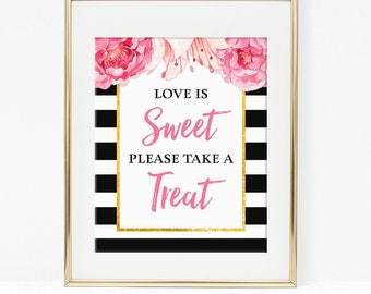 Love Is Sweet Please Take a Treat Shower Favor Sign, Black & White Stripe Peony Bridal Shower, 2 Sizes, DIY Printable, INSTANT DOWNLOAD