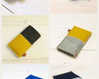 FAIRPHONE 1/2 FELT CASE sleeve pure wool eco fabric natural colors handmade yellow black grey red
