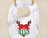 Christmas Monogram Ruffle Bib in White for Infant Baby Girl with Velcro Closure Deer Santa Holly Mistletoe Reindeer Mittens Holiday Bow