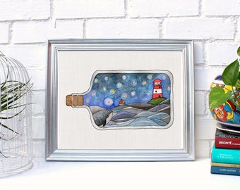 """Printable wall art """"Sea in a bottle"""", hand painted watercolor, Instant Download ,2 different sizes x price of 1.Maritime Home decor. Fantasy"""