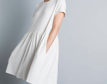 Women white dress, oversized dress, summer dress, white day dress, loose fit, plus size sundress, t shirt dress, short sleeve, casual style