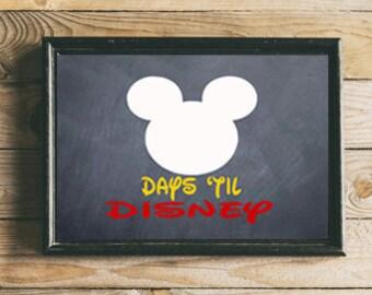 Days til Disney Countdown - Framed 5 x 7 Disney Vacation- DRY ERASE