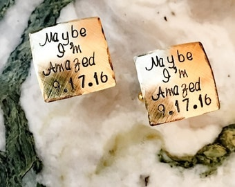 Marry Me Personalized Hand Stamped Cufflinks, Custom Cufflinks, Square Stamped Cufflinks, Your Name, Quote, Personalized Stamped Cufflinks