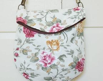Messenger bag, cross-body bag, shoulder bag, flap bag, flower, rose floral, vegan, upcycled, recycled, eco-friendly, made in barcelona