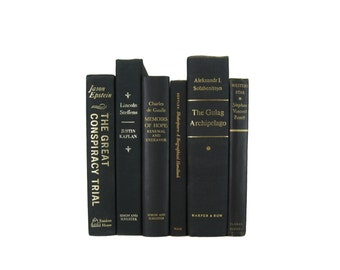 Vintage  Black Books , Black Old Books , Black Vintage Book Set ,