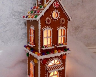 Faux Gingerbread Lighted TownHouse