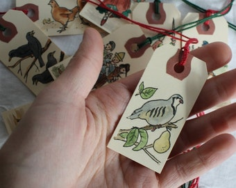 Twelve Days of Christmas Gift Tags - Hand-Painted Tags Set of Twelve