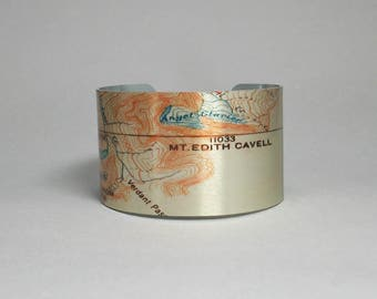 Mount Edith Cavell Jasper National Park Canadian Rockies Map Cuff Bracelet Unique Travel Vacation Gift for Men or Women