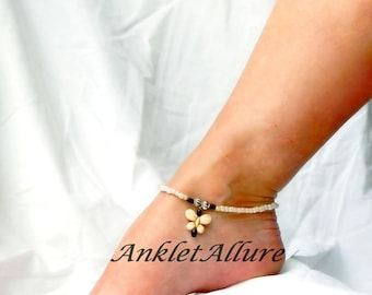 Butterfly Anklet Turquoise Ankle Bracelet Black Anklet Butterfly Jewerly Body Jewelry Foot Jewelry