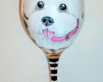 Hand Painted Wine Glass 1 - 20 oz. Custom Pet Portrait of Your Dog Breed or Cat, Horse Any Pet White Wine Glass Dog Lover Birthday Gift