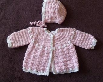 Shell Stitch Baby Set, Sweater And Bonnet, Gift Set, Baby Girl Set