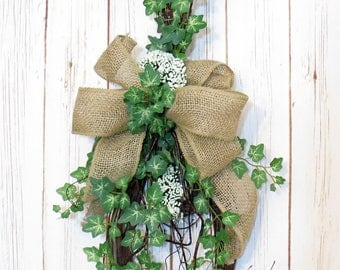 Rustic Swag, Farmhouse Swag, Rustic Decor, Farmhouse Decor, Teardrop Swag, Year Round Wreath,  Greenery Swag, Greenery Wreath