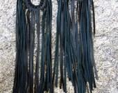 Black Leather Fringe Earrings Bohemian Jewelry, Urban Warrior Long Chandelier Dangle Silver Hoops