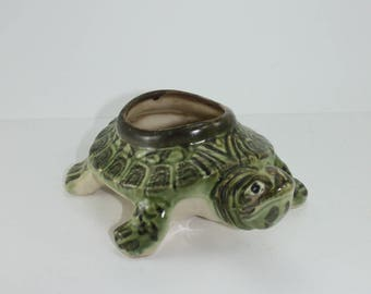 Vintage Brush McCoy Ceramic Turtle Figurine Flower Planter Pottery Indoor Outdoor Planter Garden Ornament Cabin Lodge Decor