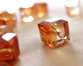 12pc - 10mm Half Orange Faceted Crystal Cube Beads, 10mm x 10mm, 12 beads