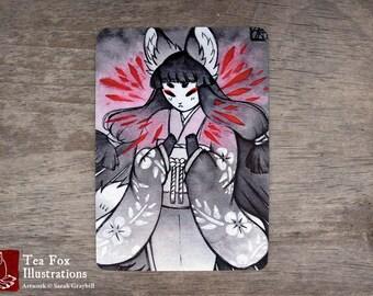 Shattered / Fox Spirit Yokai Foxfire / Japanese Style / 4x6 Glossy Postcard Rounded Corners