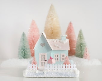 Valentine Putz House Valentines Day Decoration Glitter House Winter Decor Farmhouse