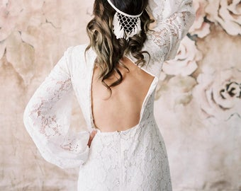 Dreamcatcher fringe halo headpiece with tassels, macrame, reverse crown, bohemian bride, unique wedding hairpiece, boho veil headband 215