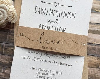 Rustic Wedding Invitation, Whimsical Wedding Invitation, Shabby Chic Wedding  Invitation, Barn Wedding Invitation