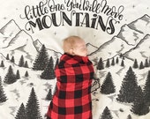 Muslin cotton swaddle - Little one, you will move mountains - Extra large